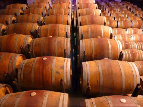 Tonneaux de vin entreposés