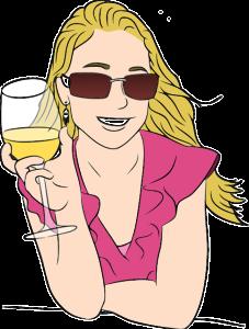 Dessin d'une femme qui sourie avec un verre de vin blanc