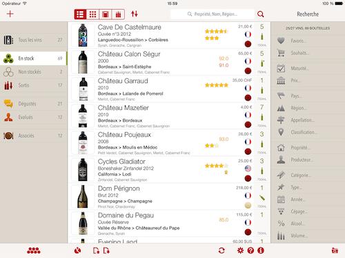 liste des vins format iPad