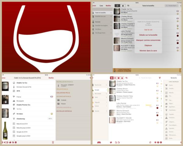 Exemples d'écrans VinoCell sur iPad