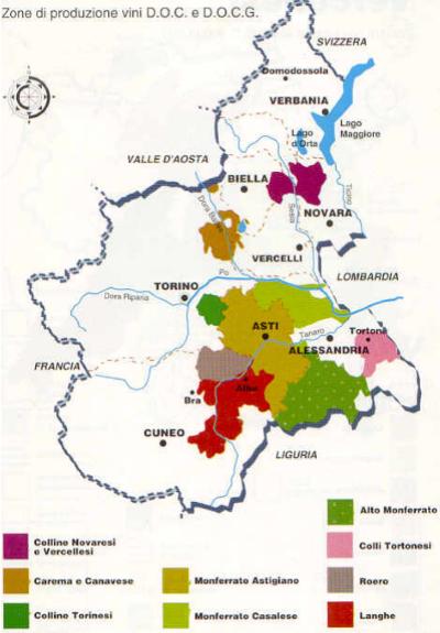 Carte des zones de production de vin dans le Piémont