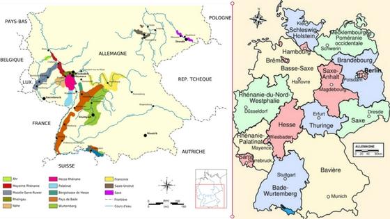 Cartes des vignobles et landers allemands