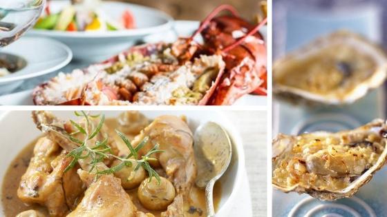 volailles, lapins, fruits de mer accompagnés de riesling