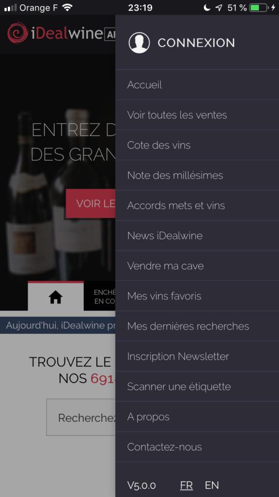 menu de l'app idealwine