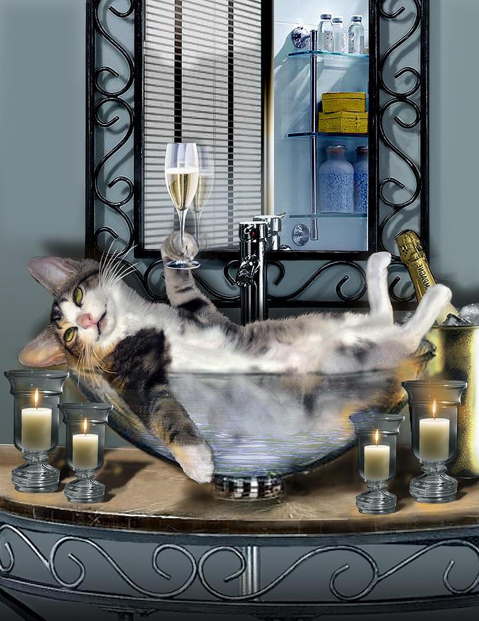 Dessin d'un lol cat dans un saladier avec un verre à la main et avec des bougies pour une ambiance tamisée.
