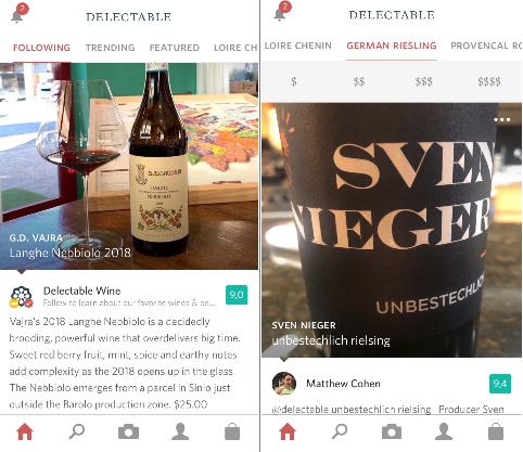 Accueil de dl'app vin Delectable