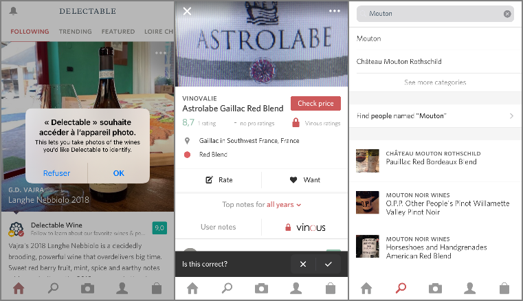 Recherche par scan et texte dans l'app Delectable