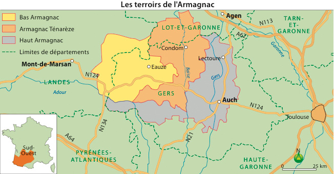 Carte de l'appellation d'Armagnac