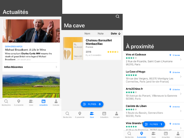 fonctionnalités de Wine-searcher application mobile pour le vin