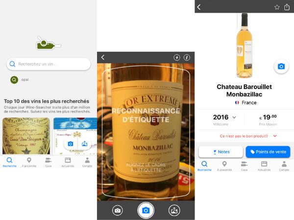 reconaissance des bouteilles par photo wine-searcher