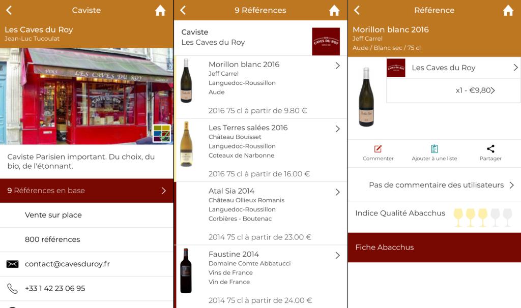 liste des cavistes sur l'app mobile abacchus