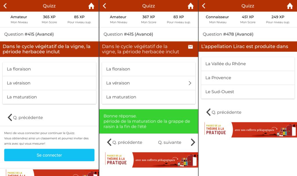 application mobile quizz sur le vin abacchus