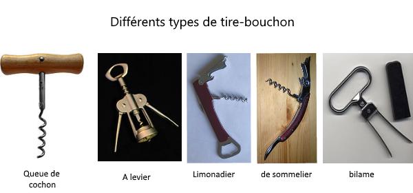 exemple de tire bouchon : a levier, queue de cochon, sommelier, bilame, limonadier