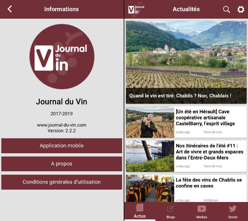 présentation de l'application mobile sur le journal du vin