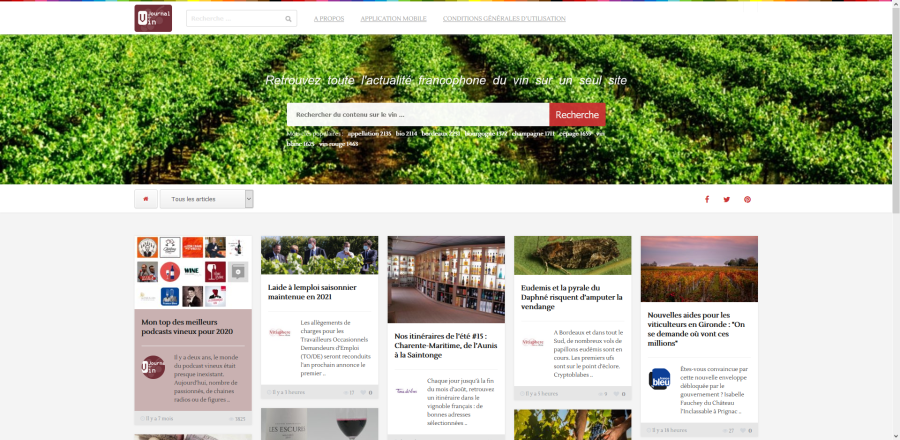Journal du vin version site Internet - navigateur