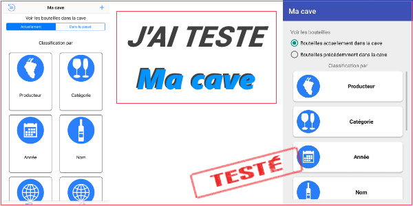 Test de l'application mobile Ma cave à vin