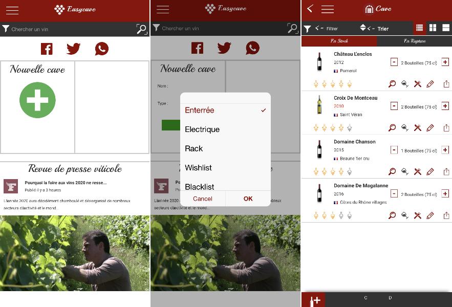 Easycave application mobile pour gérer sa cave à vin