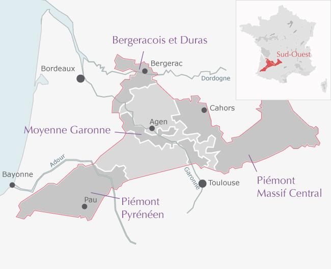 carte de l'appelation Cote de Gascogne