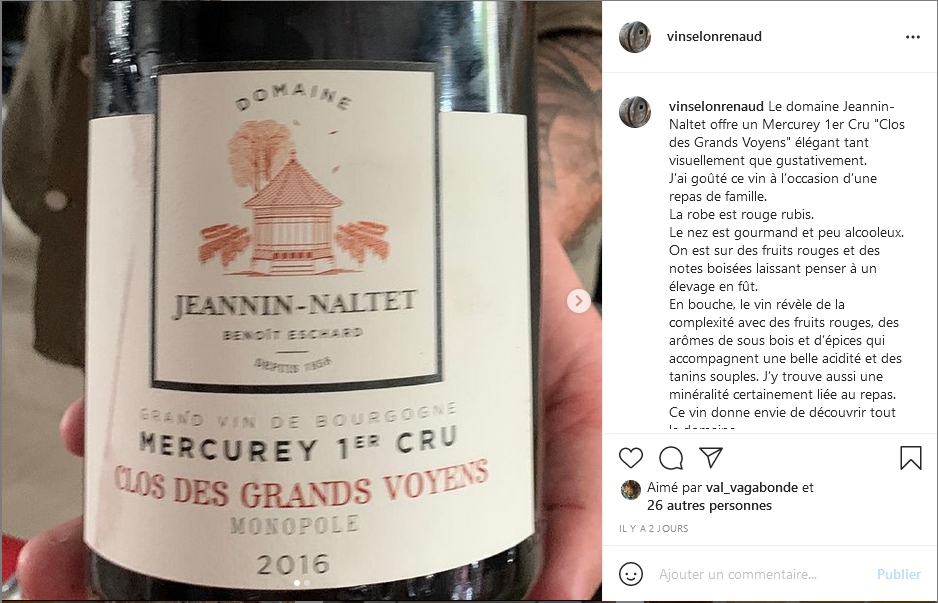 Mercurey 1er Cru sur Instagram de vinselonrenaud