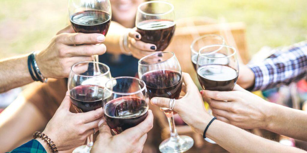 Trinquer entre amis à la campagne avec des verres de vin